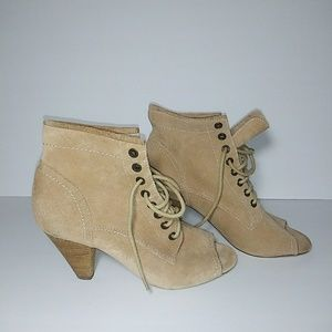 Report Lace Up Peep Toe Booties Size 7.5